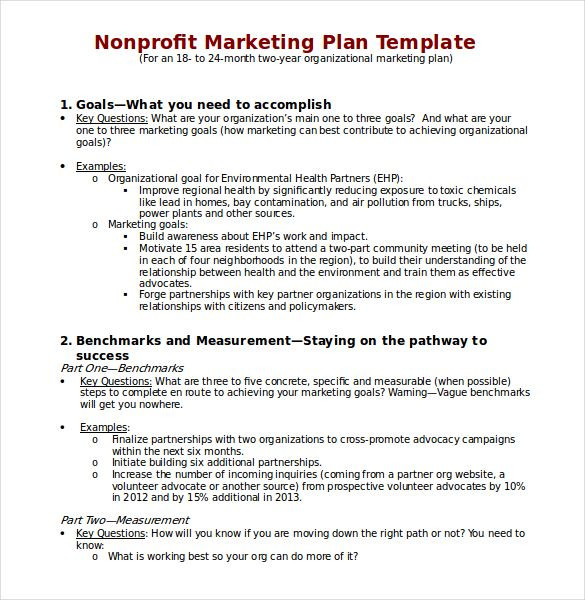 Nonprofit Marketing Plan Template Non Profit Marketing Plan Template Download In Word 585