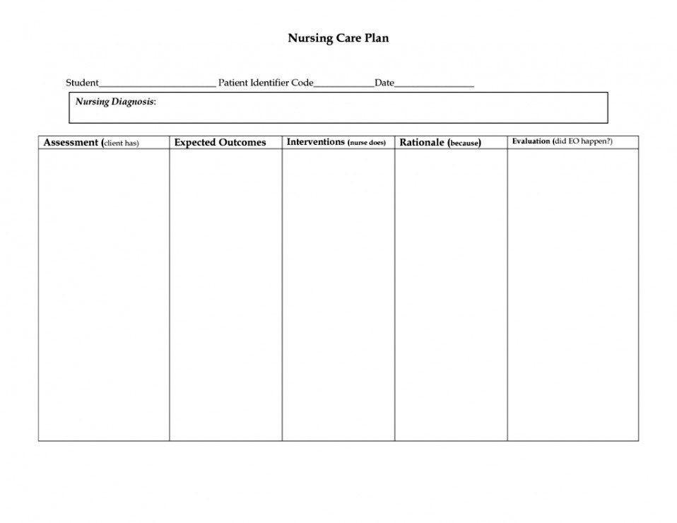 Nursing Care Plan Template Blank Blank Nursing Care Plan Template 28 Printable