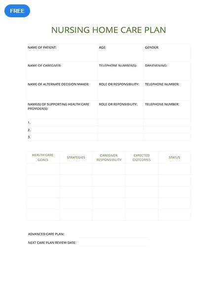 Nursing Care Plan Template Blank Free Nursing Home Care Plan Template Pdf