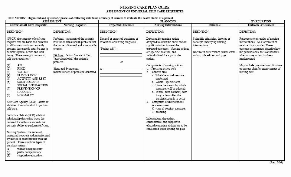 Nursing Care Plan Template Blank Plan Care Template Best Free Printable Blank Nursing