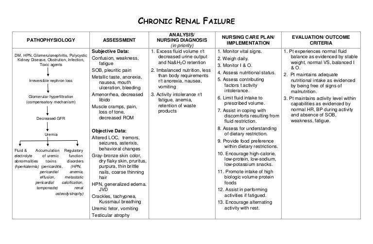 Nursing Care Plan Template Nursing Care Plan Chronic Renal Failure