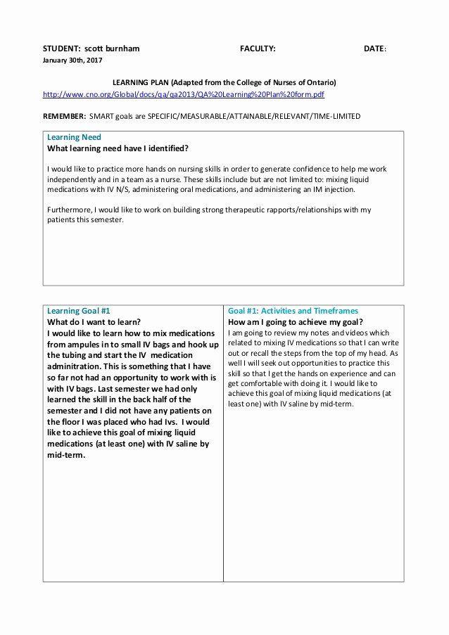 Nursing Education Plan Template Nursing Teaching Plan Sample Elegant Learning Plan with 5