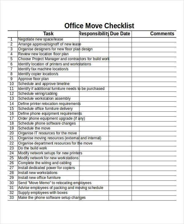 Office Relocation Project Plan Template Fice Relocation Project Plan Template Beautiful Checklist
