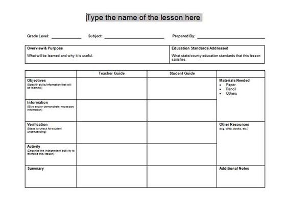 One Day Lesson Plan Template Content 2011