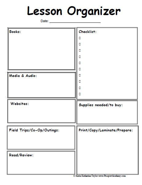 One Day Lesson Plan Template Homeschool Lesson Planner Pages