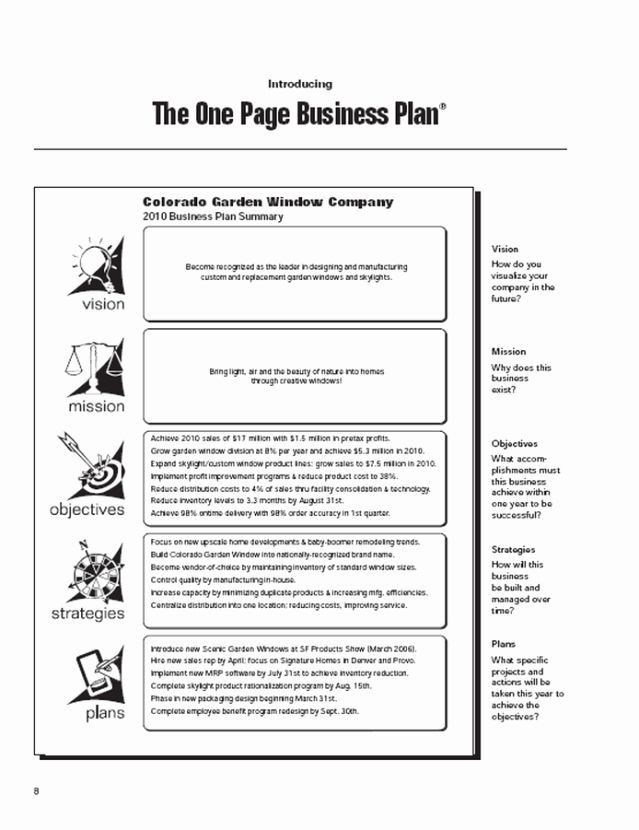 One Page Business Plan Template 1 Page Business Plan Template Inspirational Step by Step