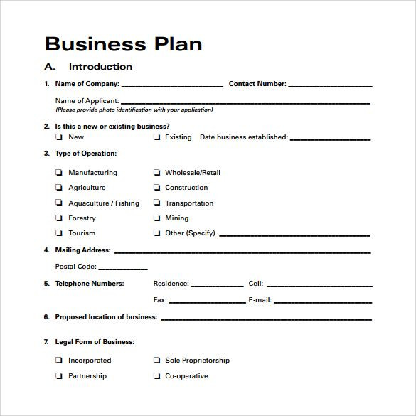 One Page Business Plan Template Business Plan Template Free Download