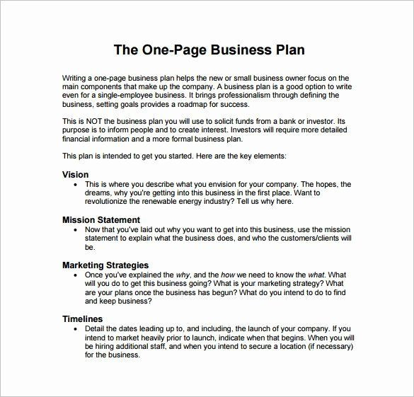 One Page Business Plan Template Business Proposal format Template Best Business Plan