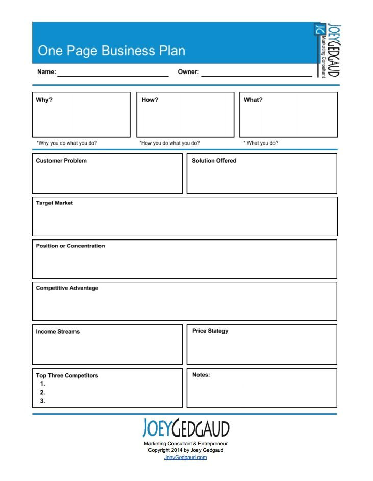 One Page Business Plan Template E Page Business Plan Exercise Joey Gedgaud
