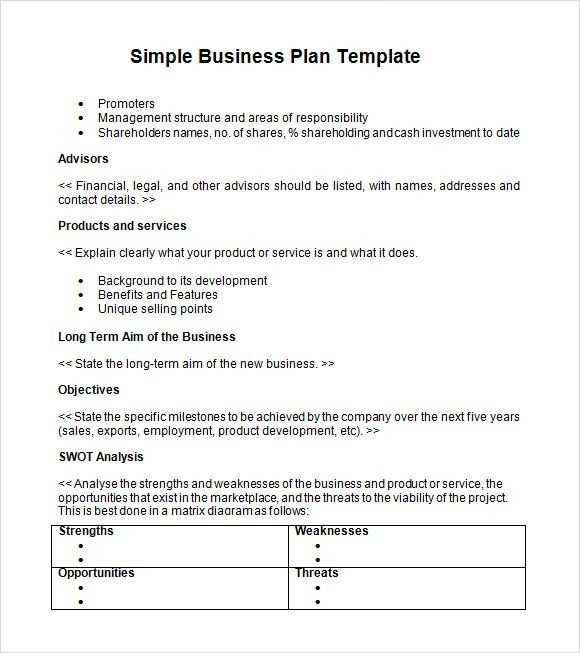 One Page Business Plan Template Simple Business Plan Templates Creating A Business Plan