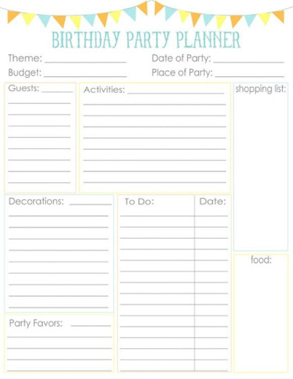 Party Planner Checklist Template Free Birthday Party Planner Printable