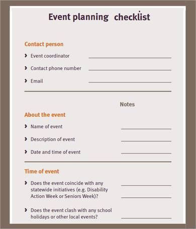 Party Planning List Template Free event Planning Checklist