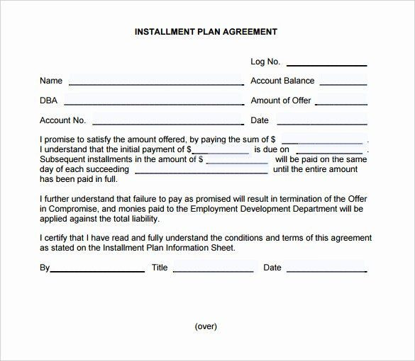 Payment Plan Agreement Template Word Installment Payment Plan Agreement Template Inspirational