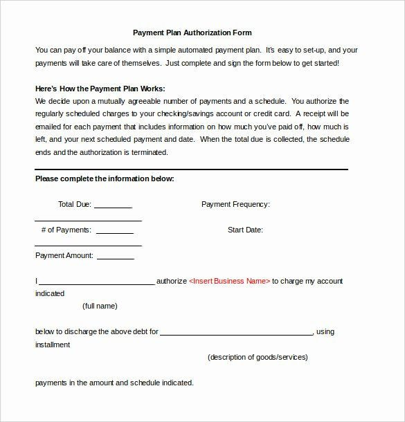 Payment Plan Agreement Template Word Payment Authorization form Template Beautiful Payment Plan