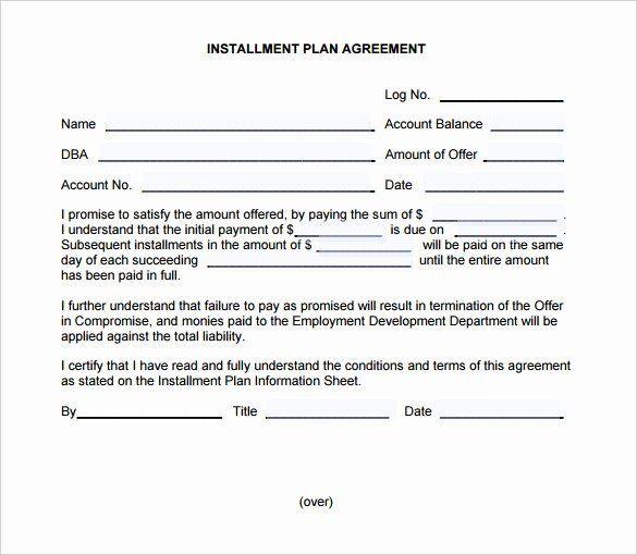 Payment Plan Template Free Installment Payment Plan Agreement Template Inspirational