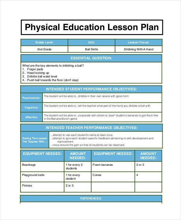 Pe Lesson Plan Template Pe Lesson Plan Template Beautiful Free 62 Lesson Plan