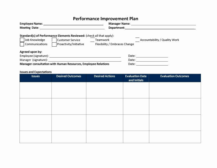 Performance Improvement Action Plan Template Employee Performance Improvement Plan Template Best 40