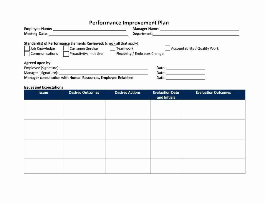 Performance Improvement Action Plan Template Employee Performance Improvement Plan Template Best 40