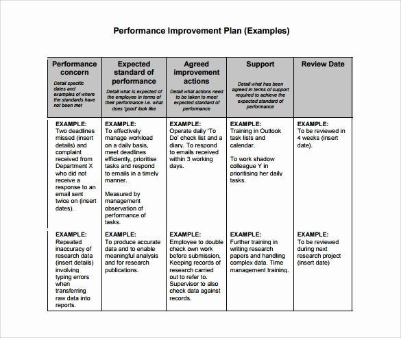 Performance Improvement Action Plan Template Performance Improvement Plan Template Word Best Free 11