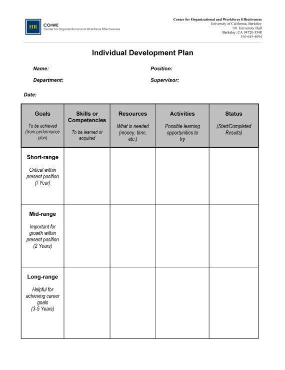 Personal Action Plan Template Individual Development Plan