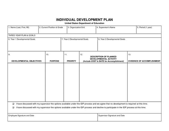 Personal Development Plan Template Word Individual Development Plan Template Word Google Search