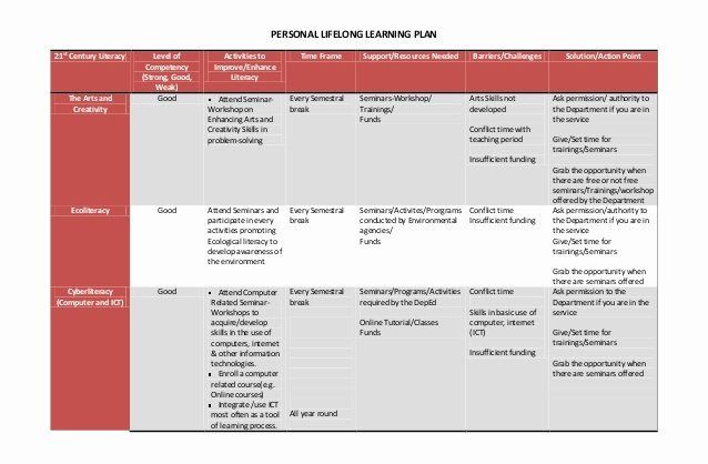 Personal Learning Plan Template Personal Learning Plan Example Beautiful Personal Lifelong