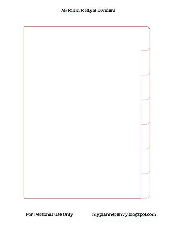 Personal Planner Divider Template A5 Kikki K Style Planner Dividers Free Printable Pdf and