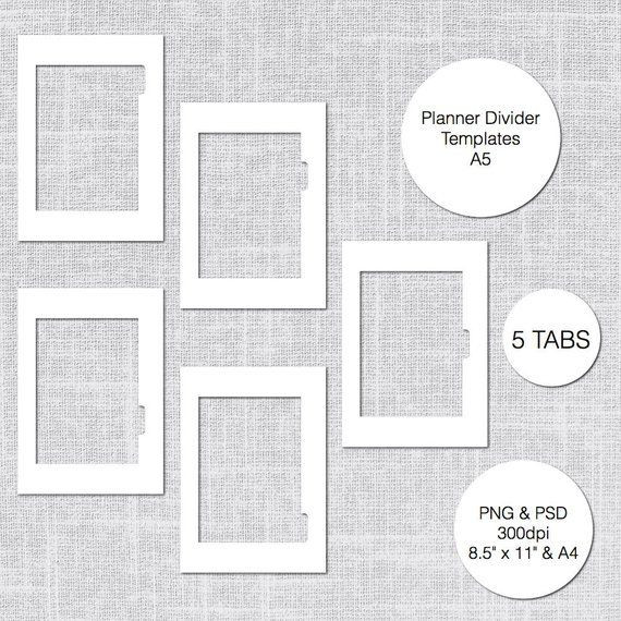 Personal Planner Divider Template A5 Printable Planner Divider Templates 5 Tabs Psd & Png
