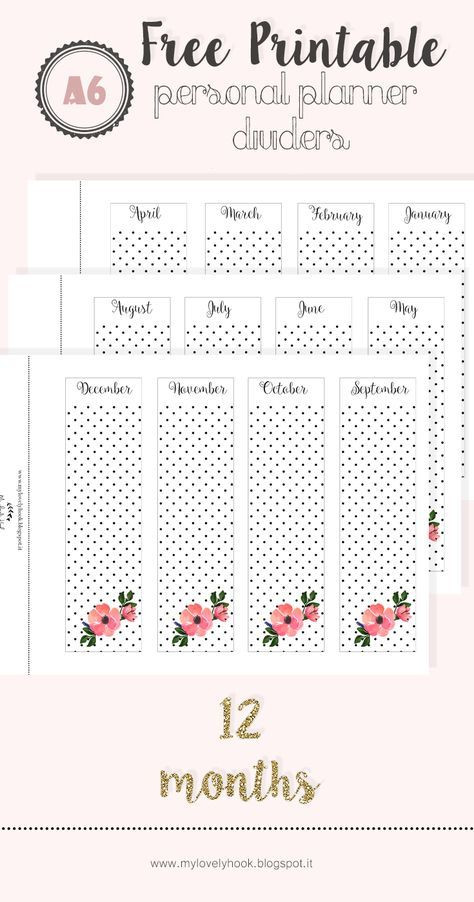 Personal Planner Divider Template Free Printable Personal Planner Dividers by Mylovelyhook