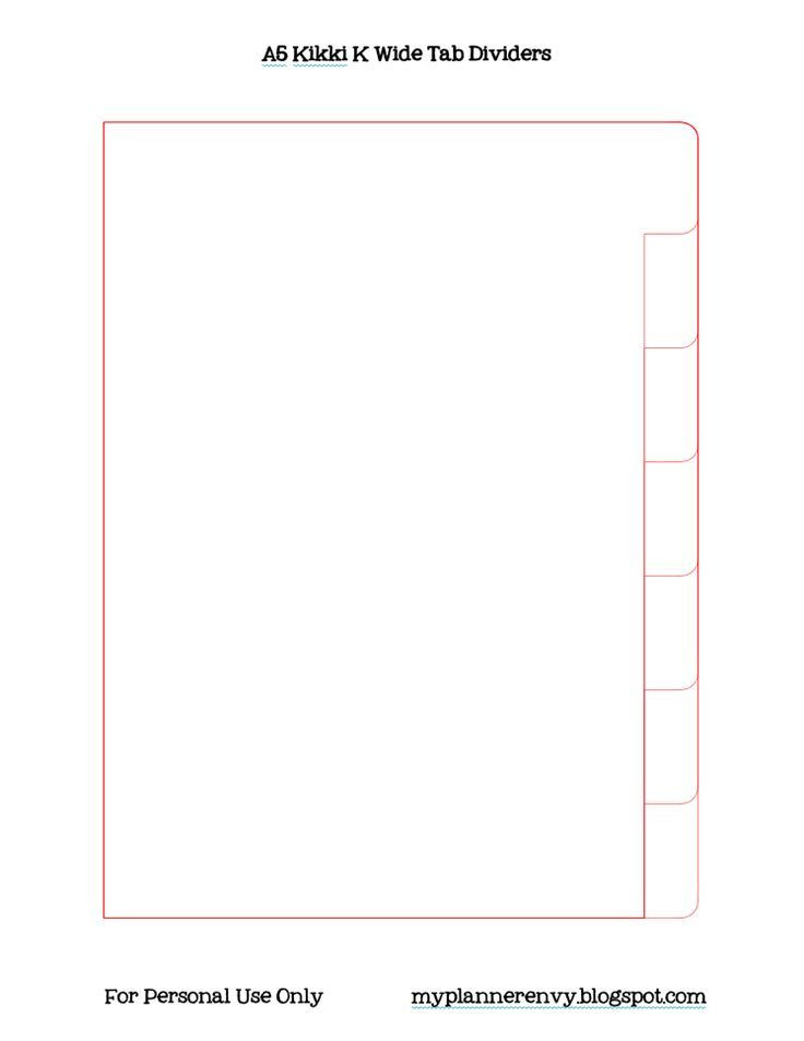 Personal Planner Divider Template My Planner Envy Wide Tab Kikki K Style Planner Divider