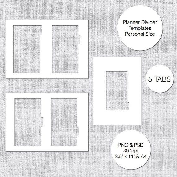 Personal Planner Divider Template Personal Planner Divider Template 5 Tabs Psd & Png Instant