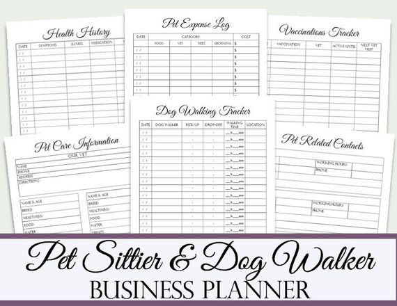 Pet Sitting Business Plan Template Pet Sitter and Dog Walker Business Planner God Walking