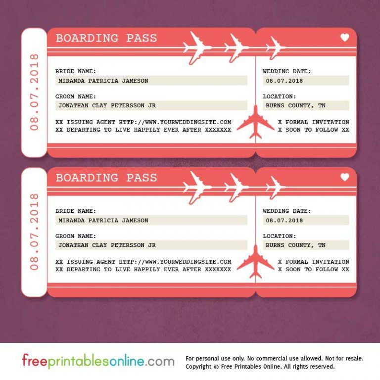 Plane Ticket Template Pdf 5 Free Boarding Pass Templates for Gifts
