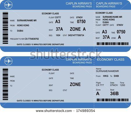Plane Ticket Template Pdf Boarding Pass Google Search