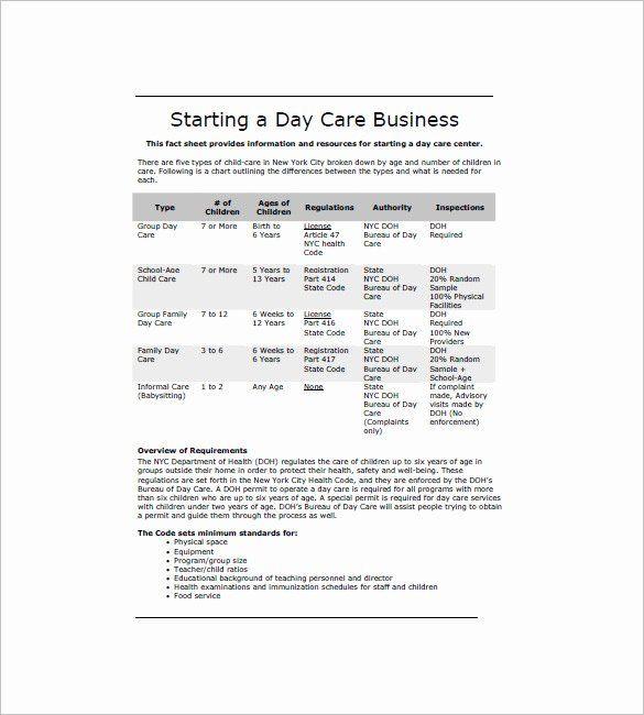 Preschool Business Plan Template Daycare Business Plan Template Free Download Fresh Daycare