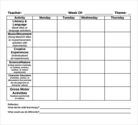 Preschool Lesson Plans Template Free toddler Lesson Plan Template Free