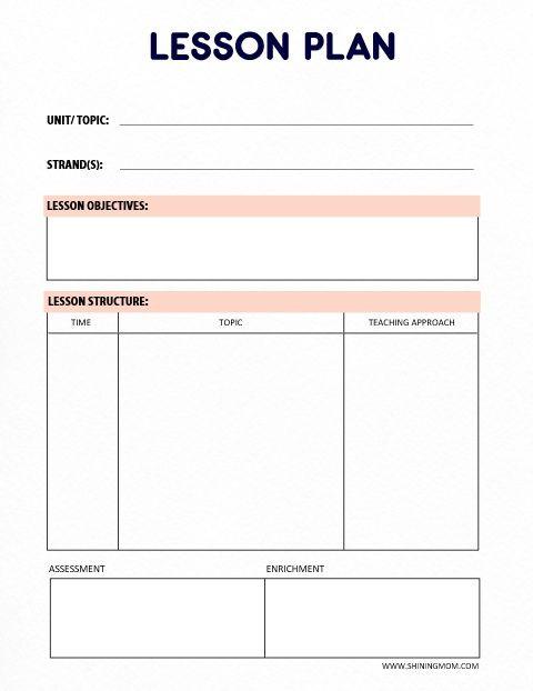 Printable Blank Lesson Plan Template Free Printable Teacher Binder 60 Outstanding organizers
