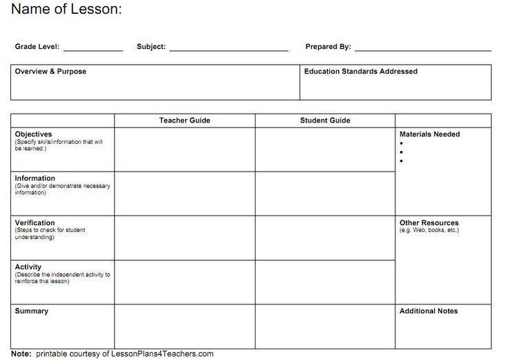 Printable Blank Lesson Plan Template Teacher Lesson Plan Templates
