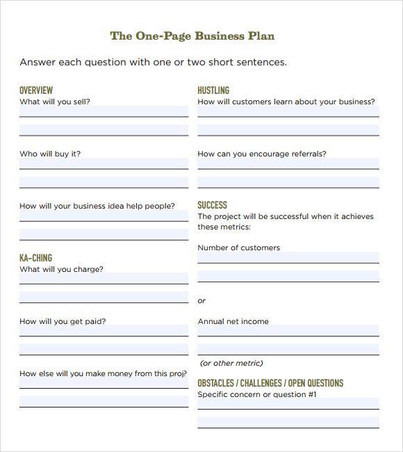 Printable Business Plan Template E Page Business Plan Template Free Business Plan Samples