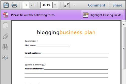 Printable Business Plan Template Free Blogging Business Plan Printable Life Your Way
