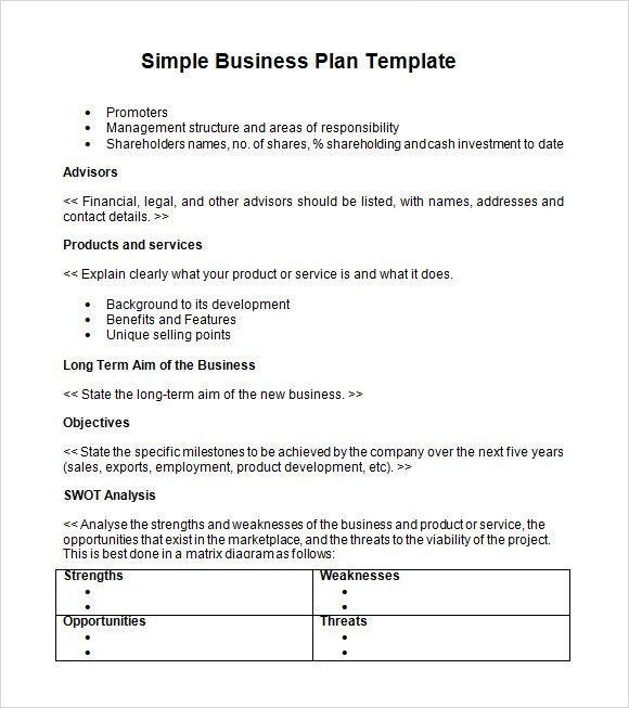 Printable Business Plan Template Simple Business Plan Templates Creating A Business Plan