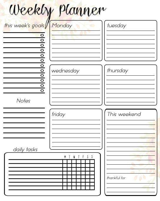 Printable Daily Planner Template Free Printable Weekly Planner