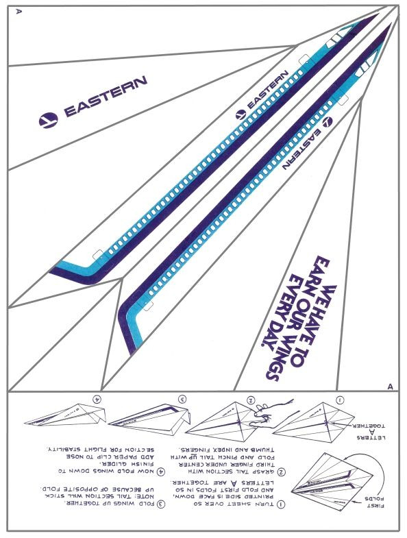 Printable Paper Airplane Template Eastern Airlines Paper Airplane Print It Fold It Fly