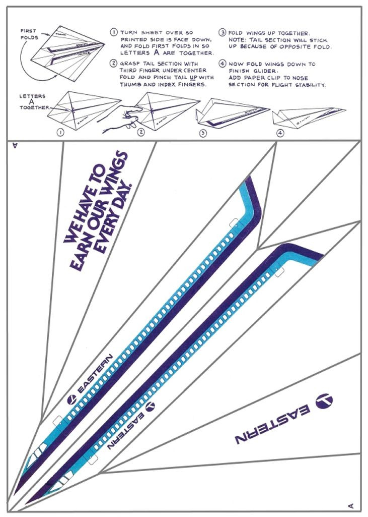 Printable Paper Airplane Template This is Cool Make Your Very Own Eastern Airlines