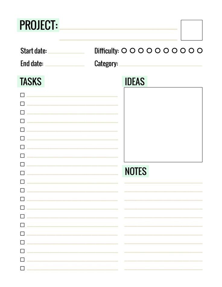 Printable Project Planner Template Free Printable Project Planner Page Paper and Landscapes