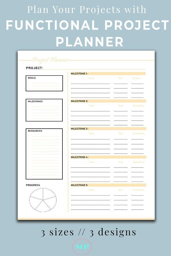 Printable Project Planner Template Productivity Project Planner Printable