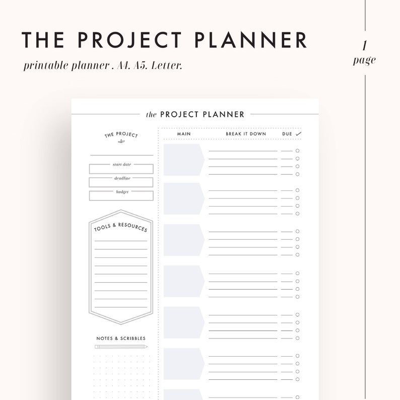 Printable Project Planner Template Project Planner Productivity Planner Project Management