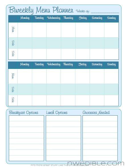Printable Weekly Meal Planner Template Biweekly Menu Planning form Free Downloadable