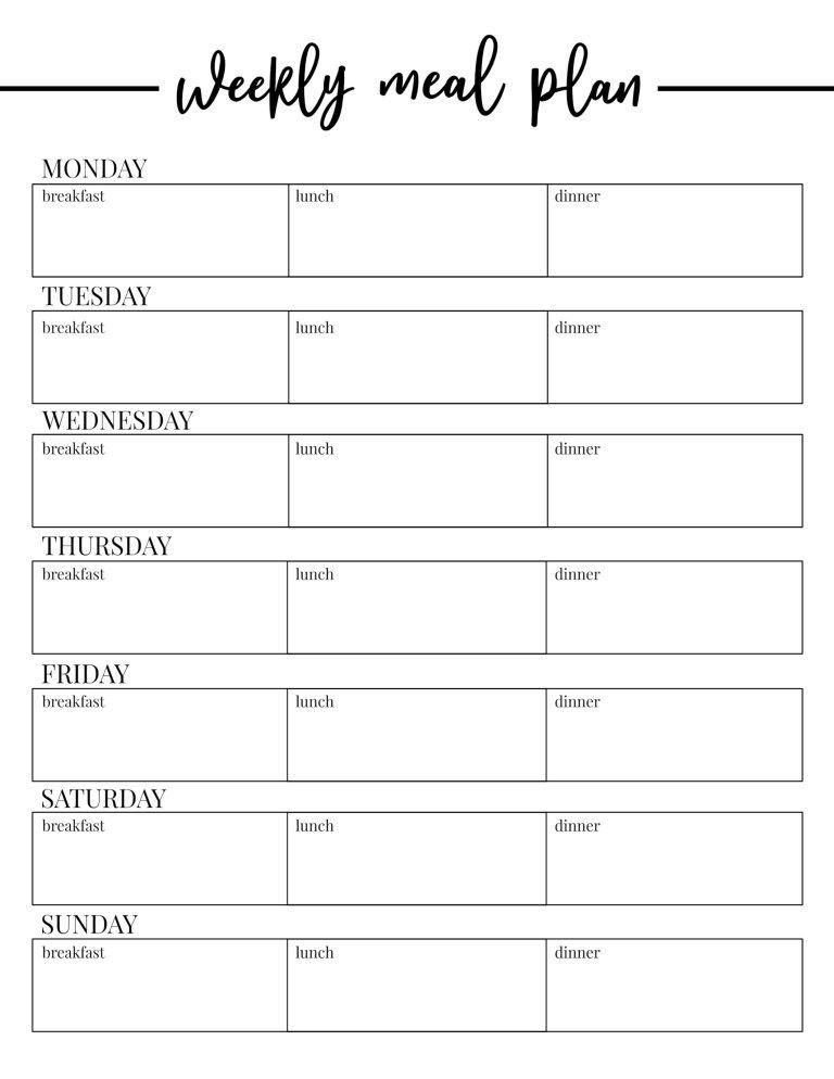 Printable Weekly Meal Planner Template Free Printable Weekly Meal Plan Template