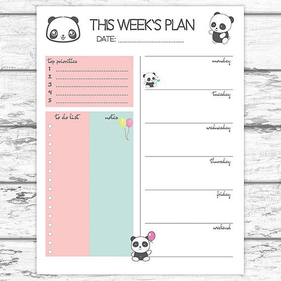 Printable Weekly Planner Template Pin On toi Do List